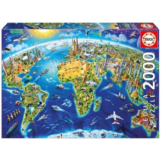 Educa pussel: World Landmarks Globe 2000 bitar