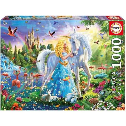 Educa pussel: The Princess and the Unicorn 1000 bitar i gruppen PUSSEL / 1000 bitar hos Spelexperten (017654)