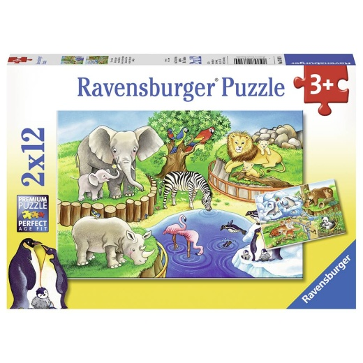 Ravensburger pussel: Animals in the zoo 2x12 Bitar