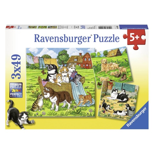 Ravensburger pussel: Cats and Dogs 3x49 Bitar