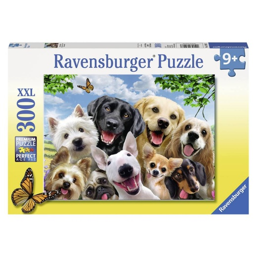 Ravensburger pussel: Delighted Dogs - 300 Bitar i gruppen PUSSEL / < 625 bitar hos Spelexperten (10113228)