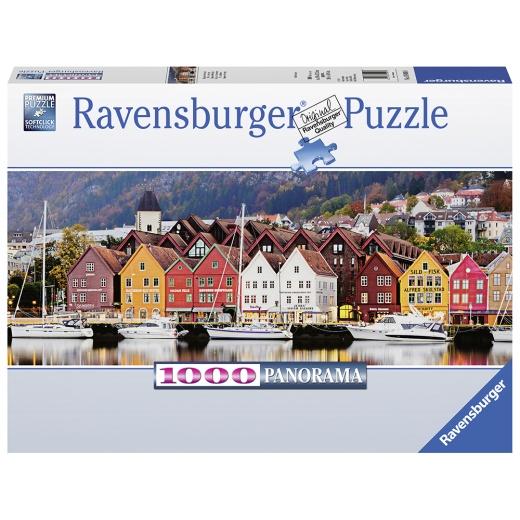 Ravensburger pussel - Panorama Port in Norway 1000 Bitar