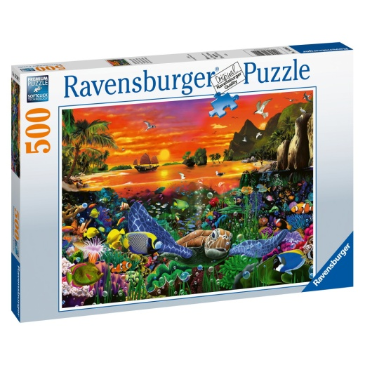 Ravensburger Pussel - Turtle in the Reef 500 bitar i gruppen PUSSEL / < 625 bitar hos Spelexperten (10216590)