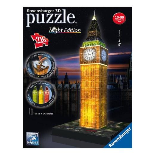 Big Ben Night Edition Pusselbyggnad 3D - 216 Bitar