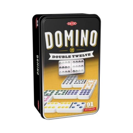 Domino Double 12 i plåtlåda