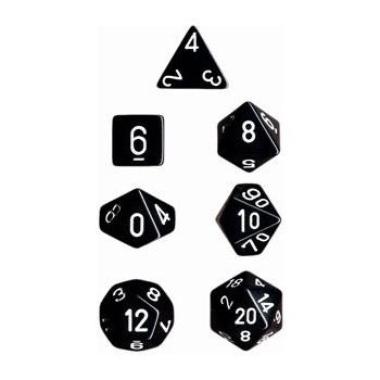Dice Set 7 Opaque Black/White