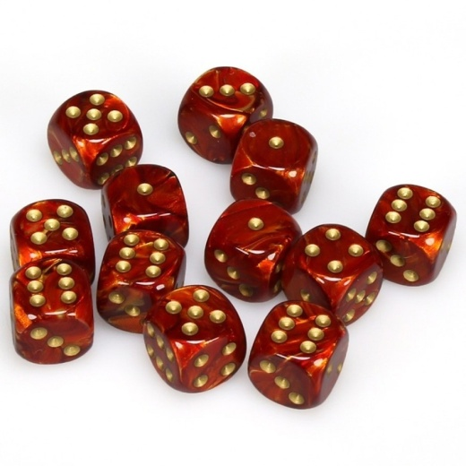 Dice Set D6 Scarab Scarlet/Gold 16 mm