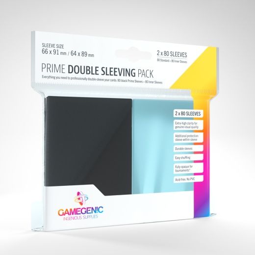 GameGenic Prime Double Sleeves Pack Black/Clear 64 x 89